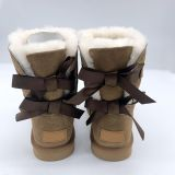 Fashion ladies cute bow design sheepskin baby fur boots kids ribbon boots for snow