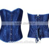 Single color plus size woman corset blue lace up corset wholesale