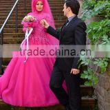 New Fashion Fuchsia Tulle Ball Gown Islamic Wedding Dress Long Sleeve Dubai Wedding Dress With Lace Applique