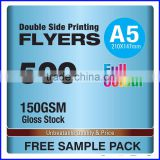 2 Side 150gsm Gloss Stock A5 Flyer Printing                                                                         Quality Choice