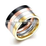 Unisex 316l Stainless Steel Multicolor Combination Promise Ring Wedding Band