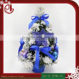 30cm Height Mini Snowing PVC Christmas Tree With Blue Bowknot Basket For Home Decoration