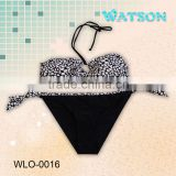 fashion 2015 woman bandeau sex bikini swimwear lepoard printing