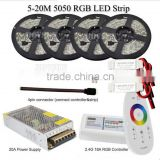 20M RGB Led Strip 5050 Waterproof IP65 60led/m tape tiras +18A RF Remote Controller + 12V Power Adapter Driver + Amplifier Kit