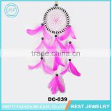 The Home Decoration Wedding Gift Dream Catcher Wooden Beads With Pink Feather Indian Dream Catcher