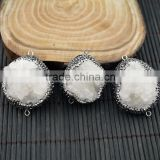 LFD-0014B Natural Druzy Drusy Quartz Stone Pave Rhinestone Crystal Connector Beads Jewelry For Making Bracelet necklace