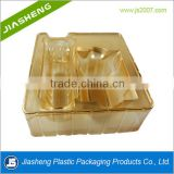 customized Gold PET rectangular cosmetic blister plastic packaging tray with dividers