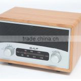 2016 NEW Portable Wooden Mini Vintage AM FM Clock Retro radio Bluetooth speaker