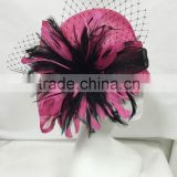 Fuschia/black Church Hat,Derby Hat,Wedding Hat for beautiful ladies headwear