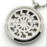 2016 Hot Round Silver Tribal Sun Aromatherapy Essential Oils Diffuser Locket Necklace Pendant