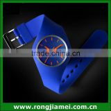 Sport Run Color Blue Silicone Casual Quartz Wrist Watch Mens Womens Unisex Clock