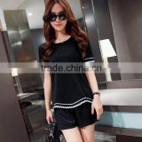 2015 cheap fashion Design Summer Women Chiffon style blouse T Shirts or blouse with lace and the t shirt with wholesale price