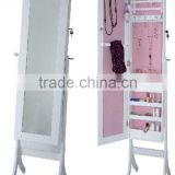 Floor Jewelry Mirror Cabinet(pink color inside) with white finished