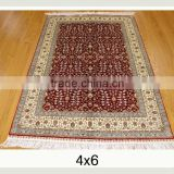 4x6 ft handknotted silk oriental carpet seven mountain flower Hereke design handmade area rugs