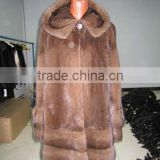 Factory Price Women's Winter Natural Mink Fur Coat With Hood