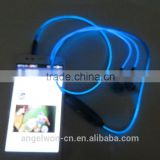EL light earphone wired LED glowing earphone with MIC