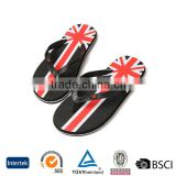 2016 cheap wholesale men eva personalized brand printed with flag black flip flops slipeprs