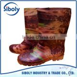 camo anti acid cheap pvc plastic safety working boots 100% waterproof oil resistant fishery PVC safety boots