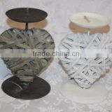 wholesale Wicker Heart wooden Candle Holder for Christmas Decoration