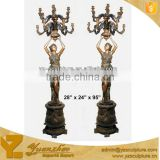 outdoor large cast brass lamp sculpture of beautiful lady standing