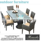 MMD881 Luxury Durable Easy Cleaning Rattan Wicker Patio Cube Dining Set Chair and Table Outdoor Restaurant Furniture