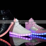 High top PU upper colorful lights sneakers led shoe stock