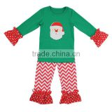 2017 christmas baby wear clothes embroidery shirts with chevron leggings girls casual outfit