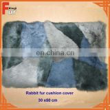Chinese Manufacturer 30x50cm Patchwork Rabbit Fur Pillow Case