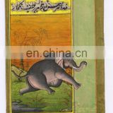 Wild Elephant Miniature Painting Original Paper Handmade Ethnic Wall Decor Hand Painted