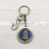 3D Metal rotating keychain with ancient Chinese chime-bell image also antique bronze plated