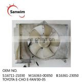 To-yo-ta Ec-ho 00 01 02 03-05 Radiator Cooling Fan Shroud OM 16363-0D050 16711-21030 16361-23050