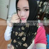 S122 newest 2014 Embroidery flower super voile muslim square scarf