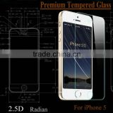 9H 0.3mm curved edge 2.5D tempered glass screen protector for iphone 5 factory wholesale