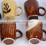 stoneware zebra drinking cup with cheap price porcelain coffee filter mugstoneware cups for coffee or tea with 3 color