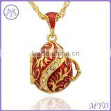 Brass Jewelry Hand Enameled Russian Easter Faberge Egg Pendant Locket Necklace For Woman