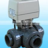 KLD400 3-way electric actuated Ball Valve(upvc) for automatic control,water treatment, process control, industrial automation