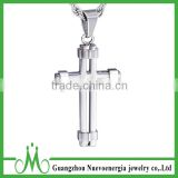Top Quality 316L Stainless Steel Cross Pendant Unisex Mens Necklace Engraved CZ Pendant Necklace