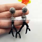 LFD-076E Wholesale Black Coral Branch Shape Dangle Earrings with Crystal Rhinestone Paved Druzy Jewelry Earring