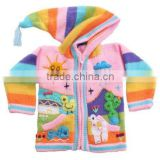 LONG HOODED CARDIGAN WITH 3D APPLICATIONS OF SUMMER DESIGN