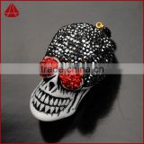 Ox bone carved skull head funny model, Synthetic ox bone gemstone carved skull pendant with black and red crystal beads paved
