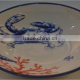 Marine series of embossed 3D hand-painted ceramic shallow little bowl
