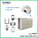 2014 Cheapest!5V6 A 5 USB port direct factory supply Usb Wall Charger