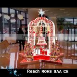 christmas decoration supplies shopping mall /hotal center decor christams castle with bell gift box christmas tree decor