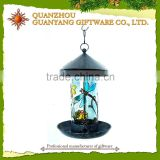 Wholesale Painting Glass Bird Feeder With Solar Light