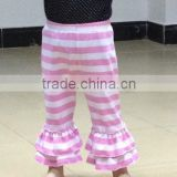 New design wholesale baby clothes baby 100% cotton double ruffle pants stripe cotton pants with double ruffles for baby