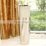 80cm Modern metal silver electroplated mirror floor vase for dry flower