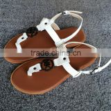 Woman sandal shoe new design,low price flat ladies fancy sandal,new designs flat lady sandal
