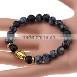New hot models natural black alabaster beads inlaid crystal leopard head Men Women bracelet