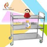 Heavy duty three tiers commercial stainless steel bakery trolley cart in restaurent hotel easy move with wheels