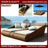Outdoor Patio Furniture Sun Lounger Rattan Daybed Fit With Canopy